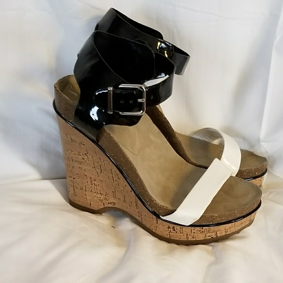 7cb11aaabc7 BCBGeneration Shoes - Black   White Two Tone Platform Sandal Cork Wedges